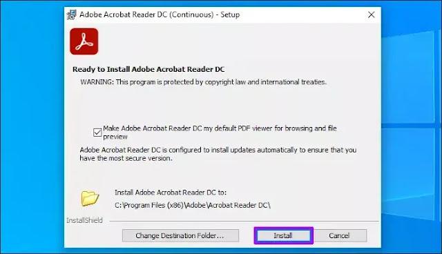 مشكلة عدم فتح Adobe Acrobat Reader DC