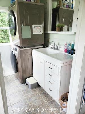 Minimalist Montessori Home Tour: Back Sink & Washing Area