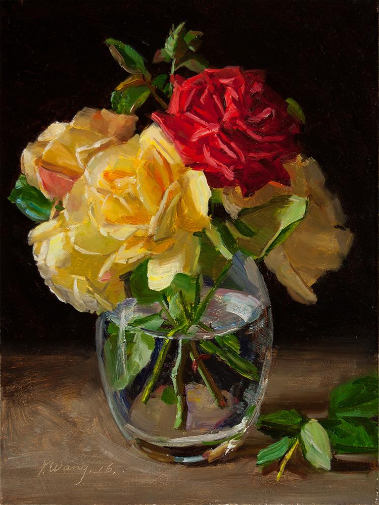 Wang Fine Art: rose flower in a glass vase still life ...