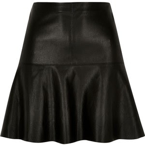Black leather look flippy skirt, $50 from River Island