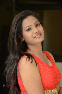 Avantikha Sizzles in a Sleeveless Red Short gown Stunning cute Beauty at Sindhura Movie Opening