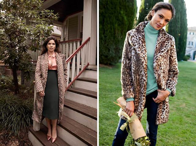 Блузки пастельного цвета с леопардовым пальто