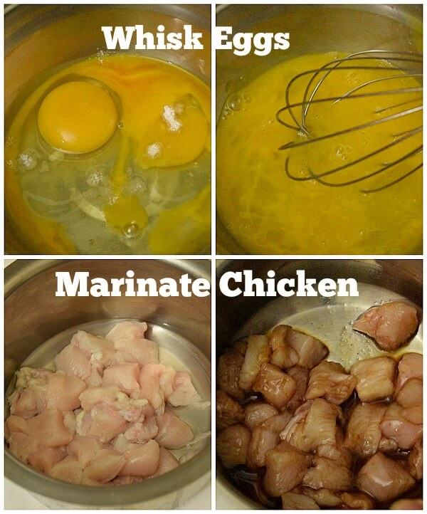 steps to make chicken fried rice - whisk eggs, marinate chicken