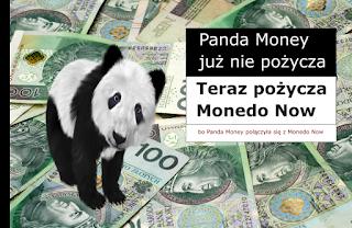 Obrazek zawiera pandę, pieniądze i informację, że PandaMoney to teraz Monedo Now