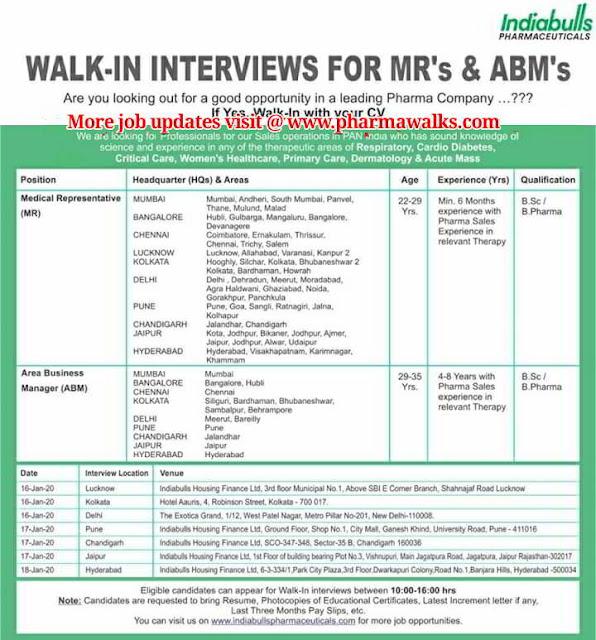Indiabulls Pharmaceuticals - Walk-In Interviews on 16th, 17th & 18th Jan' 2020 @ Lucknow, Kolkata, Delhi, Pune, Chandigarh, Jaipur & Hyderabad