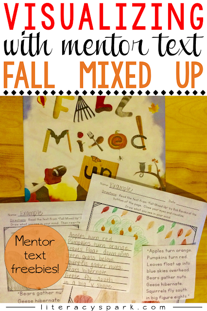 "Need a new mentor text lesson for visualizing?  Check out these free activities to be used with ""Fall Mixed Up"" by Bob Raczka."