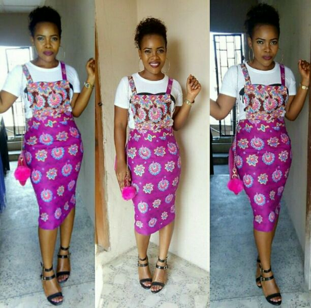 Pink Ankara pinafore on a beautiful woman