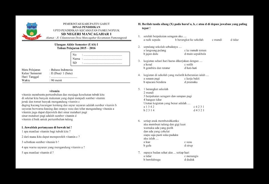 Soal Uas Bahasa Indonesia Kelas 2 Semester I Soal Soal Siswa