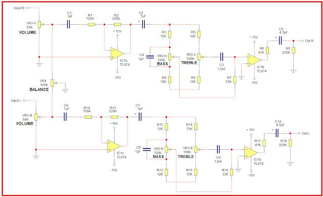 Skema Rangkaian Tone Control  Dengan Kontrol Balance Sederhana