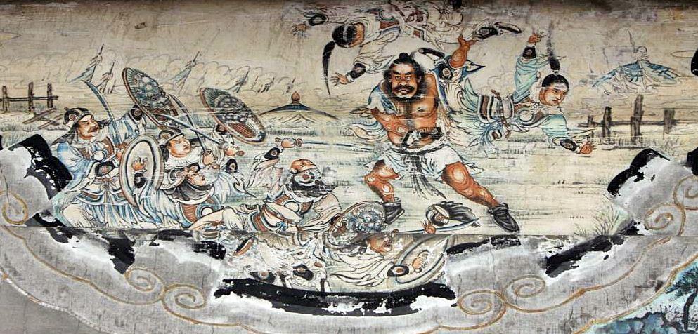 เตียนอุยผู้ถือศพเป็นอาวุธ จากศิลปะบนกำแพง