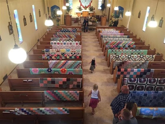 Family Decorated The Church With Their Grandma's Beautiful Quilts To Honor Her Memory At Her Funeral