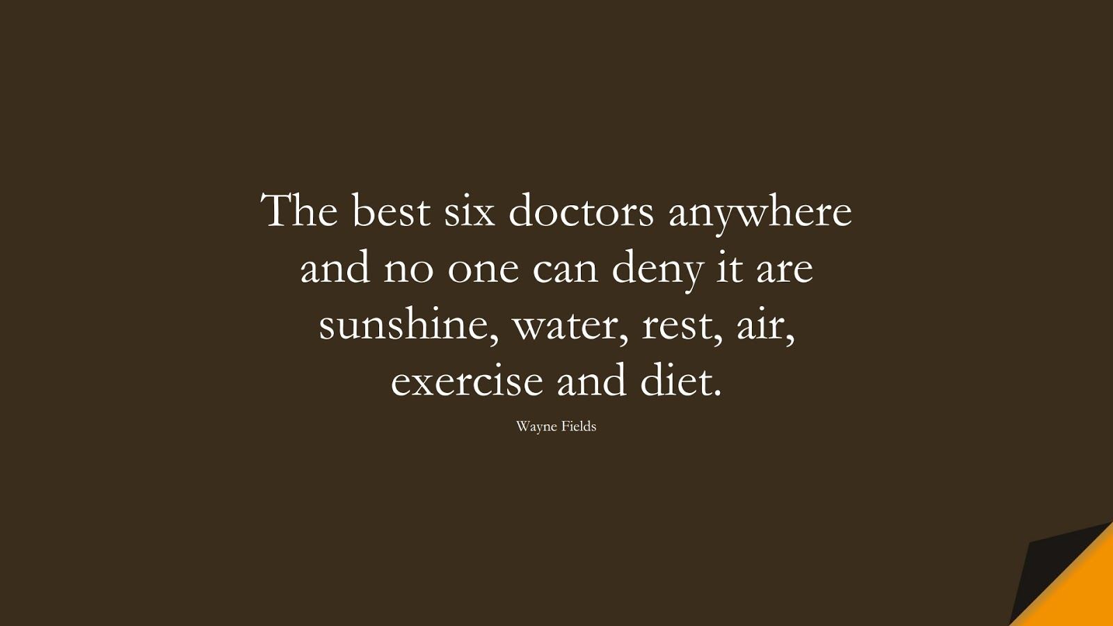 The best six doctors anywhere and no one can deny it are sunshine, water, rest, air, exercise and diet. (Wayne Fields);  #HealthQuotes
