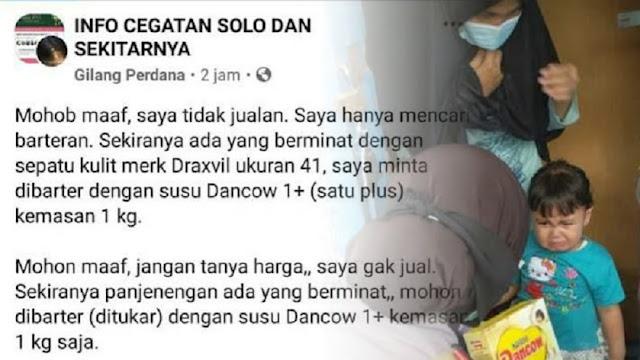 Tak Punya Uang, Ayah di Solo Tawarkan Barter Sepatu Bekas dengan Susu Anak
