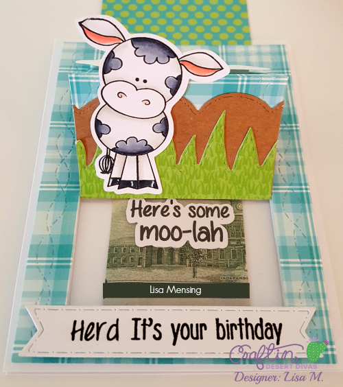 This is a picture of a Birthday Card to gift cash featuring a cow and Moo-lah sentiment