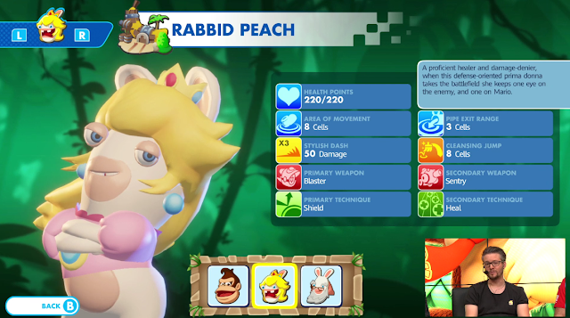 Mario + Rabbids Kingdom Battle Donkey Kong Adventure Rabbid Peach character screen description