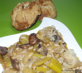 Πρασόρυζο με μανιτάρια - Leeks with rice and mushrooms