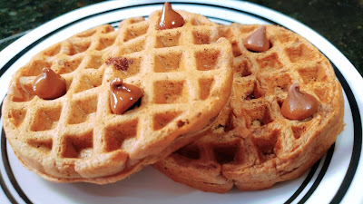 simple waffle, chocolate chip waffle, cinnamon waffle with no egg