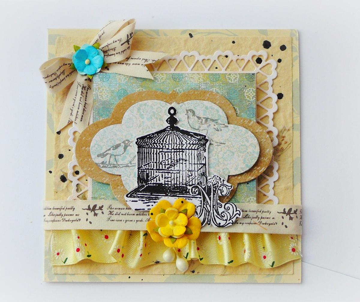 kartka hand made z ptaszkami