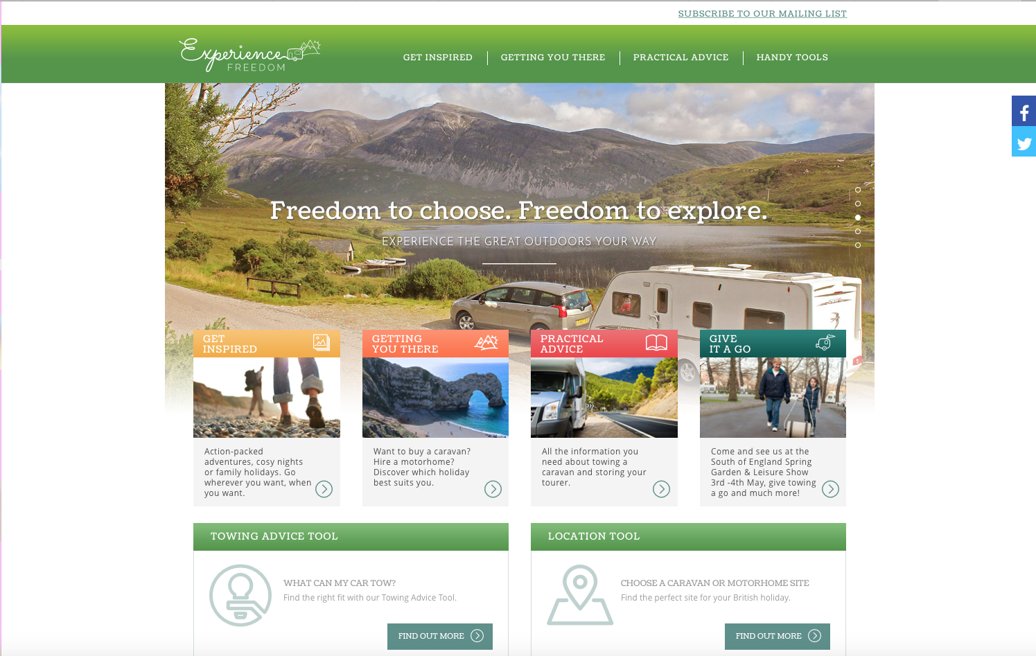 Experience freedom website