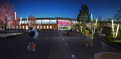 Perspective 3d concours centre aquatique rendu parvis nuit