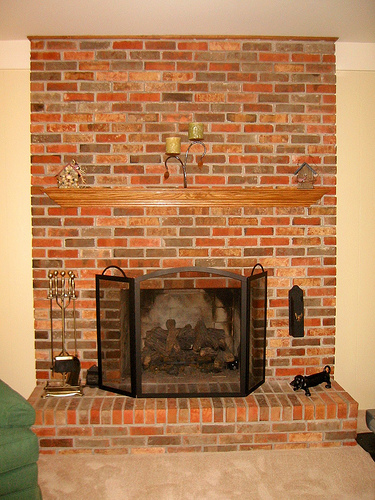 The great 80s reno painting the red brick fireplace - How to reface a brick fireplace ...