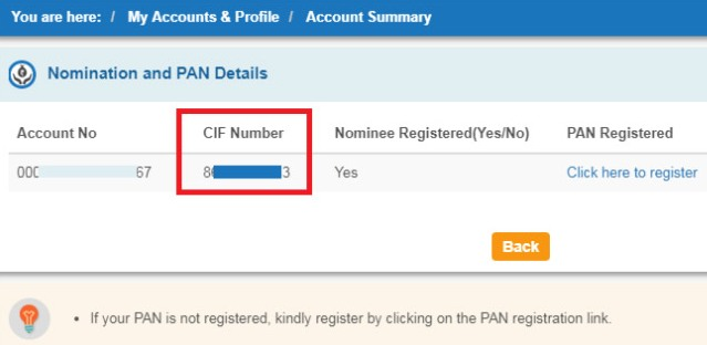 how to get cif number of sbi account online