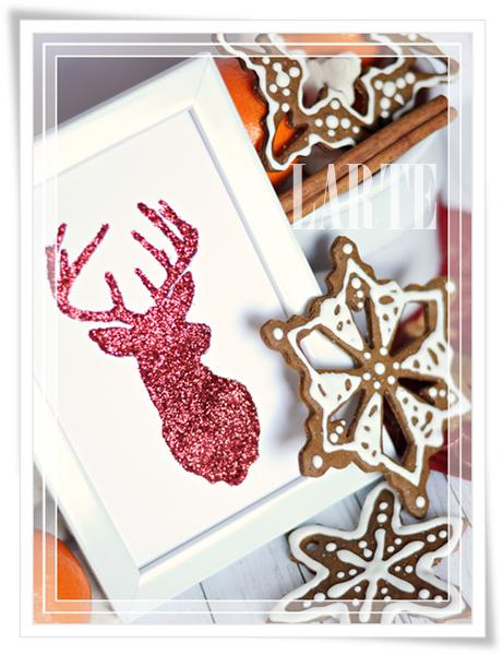 Rudolf, Boże Narodzenie, ozdoba świąteczna, DIY, ramka, obrazek, brokat, renifer, blogger, larteblog, blog