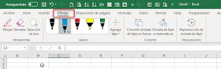 Ficha Dibujar: Una Pizarra blanca en Excel