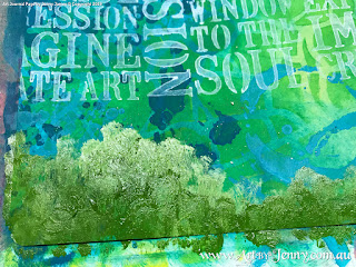 painting the scenery for the Mixed Media artwork by Jenny James featuring the theme Bucket List