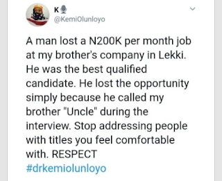 """Man Loses N200K Job After Calling His Employer """"Uncle"""""""