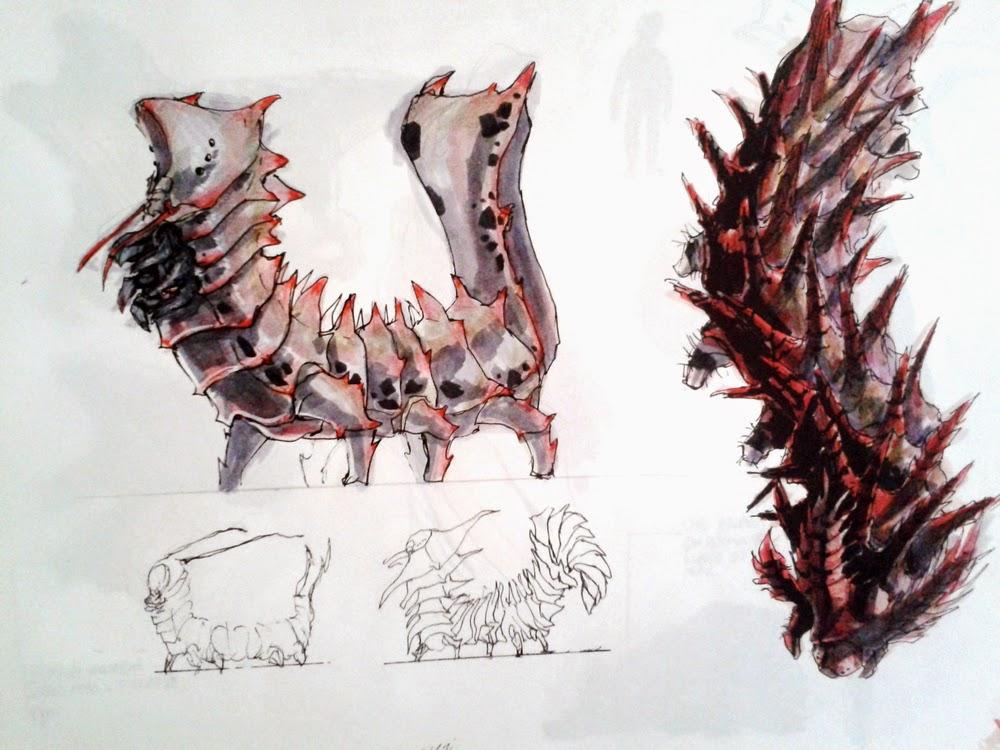 creature design, sketchbook, insects, insetos, caterpillar, dragon caterpillar, lagarta dragao, sci-fi, alien, douglas deri, deri, deriart