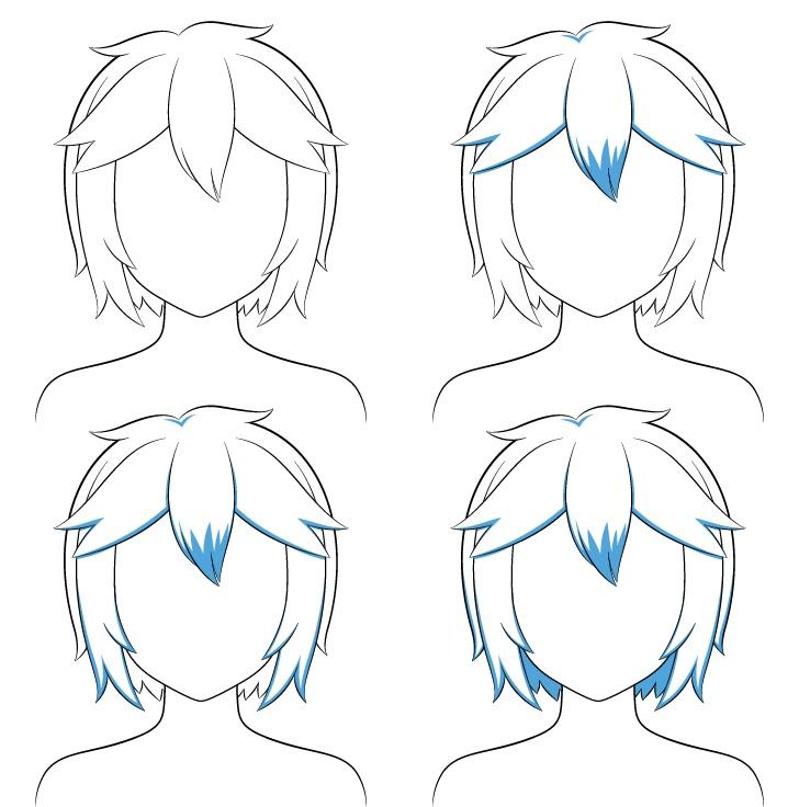 Langkah naungan rambut pendek berantakan anime