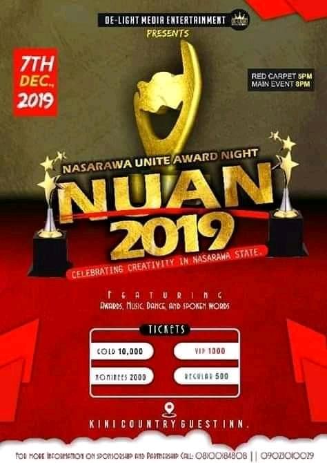 E-NEWS: NUAN _ NASARAWA UNITE AWARDS NIGHT/ TICKETS AVAILABLE