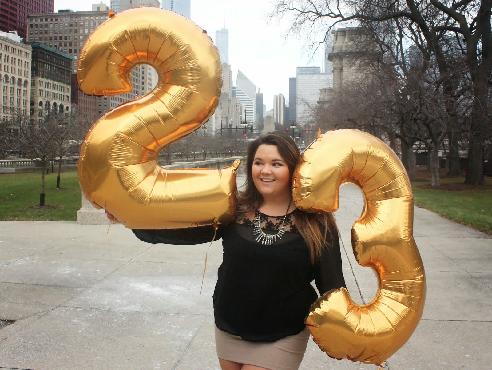 fatshion, fashion blogger, fat girl fashion, happy birthday, gold number balloons,  feeling 22, 23rd birthday, natalie craig, natalie in the city, betsey Johnson coat, skirt, thick girls, plus size fashion blogger, inspirational, college graduate, columbia college chicago, USA today, steve harvey show, embrace your curves