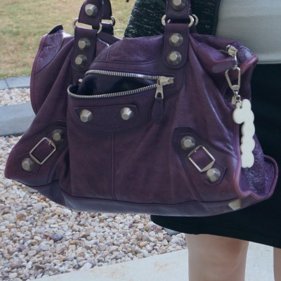 office outfit with Balenciaga raisin purple 2009 giant silver G21 hardware work bag | away from the blue