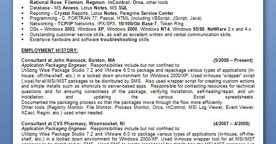 application packaging engineer resume format in word free