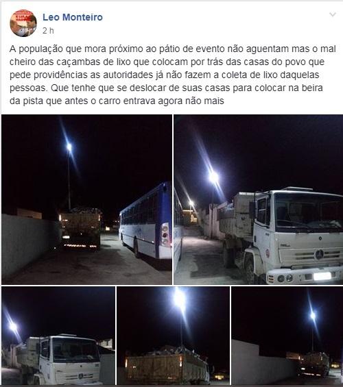 Joaquim Nabuco: Morador reclama do mau cheiro causado por lixo no Pátio de Eventos