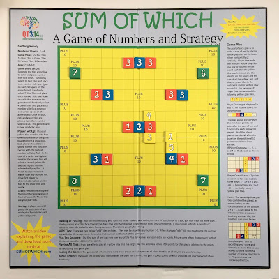 Photo of the Sum of Which game board with game pieces placed