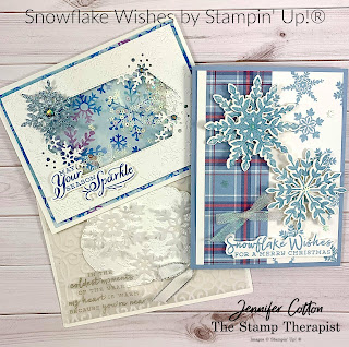 Three cards with Stampin' Up!'s Snowflake Wishes Bundle!  Details on the video (link on blog)!  #StampTherapist #StampinUp