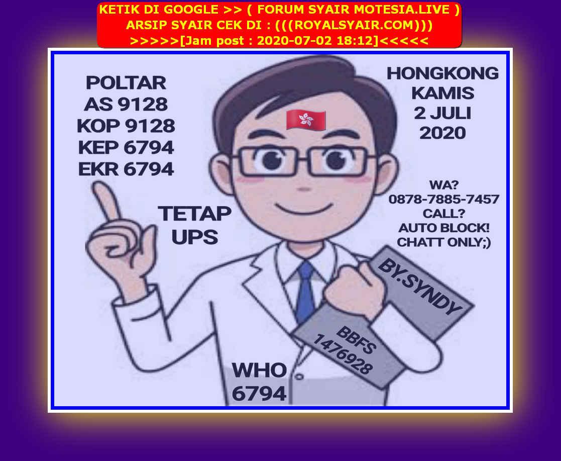 Kode syair Hongkong Kamis 2 Juli 2020 30