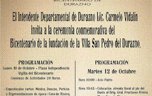 Bicentenario de la fundación de la Villa San Pedro del Durazno: Programa Oficial