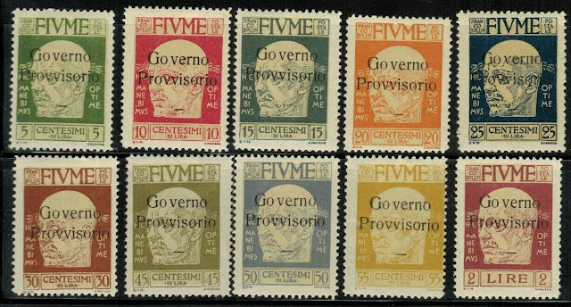 Gabriele D'Annunzio Fiume overprints