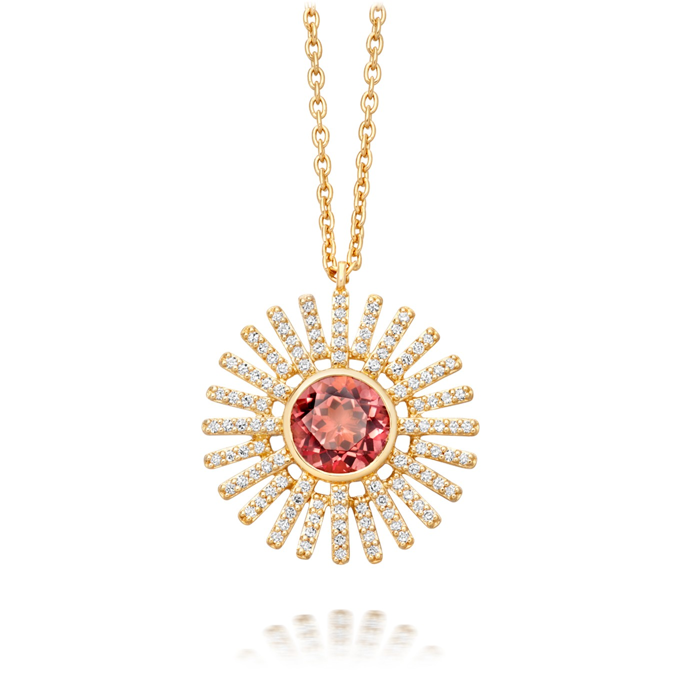 Astley Clarke Pink Tourmaline Rising Sun Pendant - British luxury jewellery - UK style blog