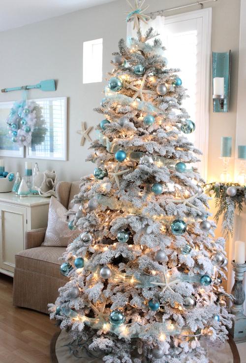 White Flocked Coastal Christmas Tree Ideas
