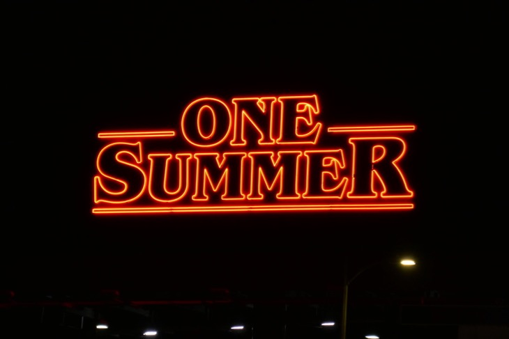 One Summer Stranger Things 3 neon billboard night