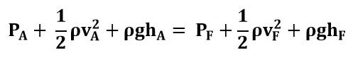 Ecuación de Bernoulli entre el punto A y F del ejemplo 2