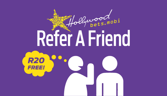Refer A Friend at Hollywoodbets and earn R20 free - bonus - promotion