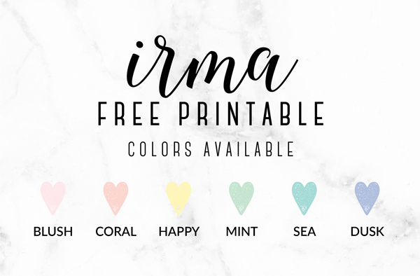 Introducing Irma: The New Free Printables for 2016. Colors available in the Irma design. By Eliza Ellis
