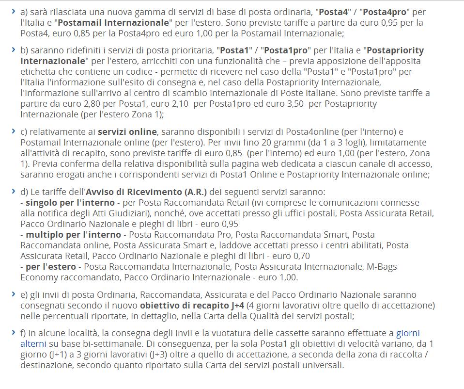 Nuove tariffe di Poste Italiane da ottobre 2015