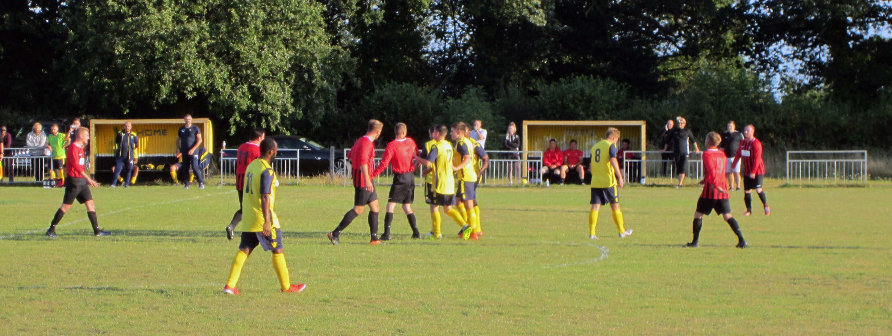 Mortimer FC and Cookham Dean FC players square up